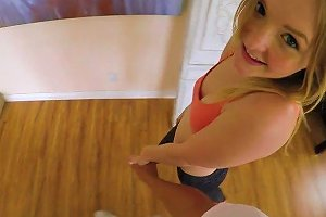 Flat Chested Fresh 18 Yo Sweetie Lanna Carter Rides Firm Cock Damn Well