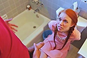 Redhead And Nerdy Dolly Little Gets Hammered By Largos Huge Cock